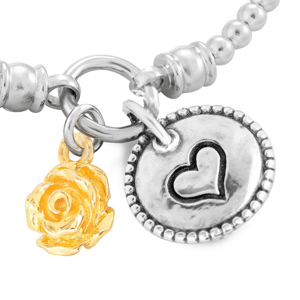 Stretch Charm Bracelet with Rose and Heart Charms Sterling Silver - Danny Newfeld Collection