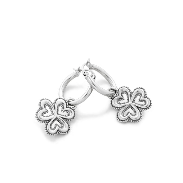 Hoop Earrings with Clover Charms Sterling Silver - Danny Newfeld Collection