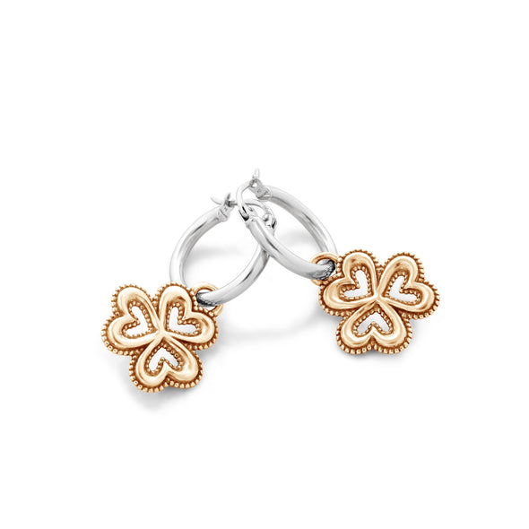 Hoop Earrings with Clover Charms Sterling Silver - dannynewfeld