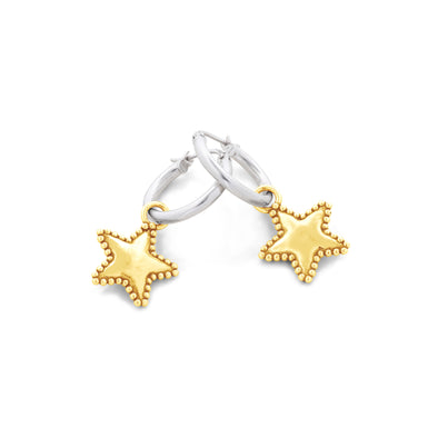 Hoop Earrings with Star Charms Sterling Silver - dannynewfeld