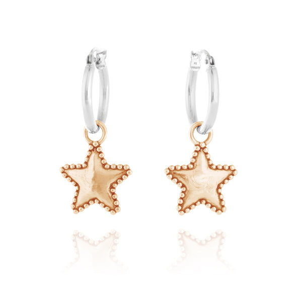 Star Charm Hoop Earrings - Danny Newfeld Collection