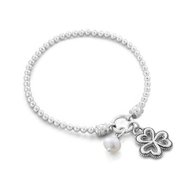 Pearl and Clover Charm Stretch Bracelet Sterling Silver - dannynewfeld