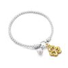 Pearl and Clover Charm Stretch Bracelet Sterling Silver - Danny Newfeld Collection