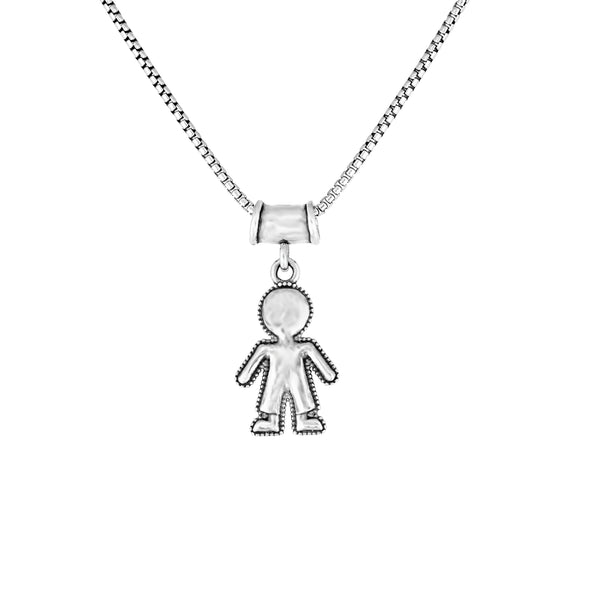 Mother's Necklace with Boy and Girl Charms Sterling Silver - Danny Newfeld Collection