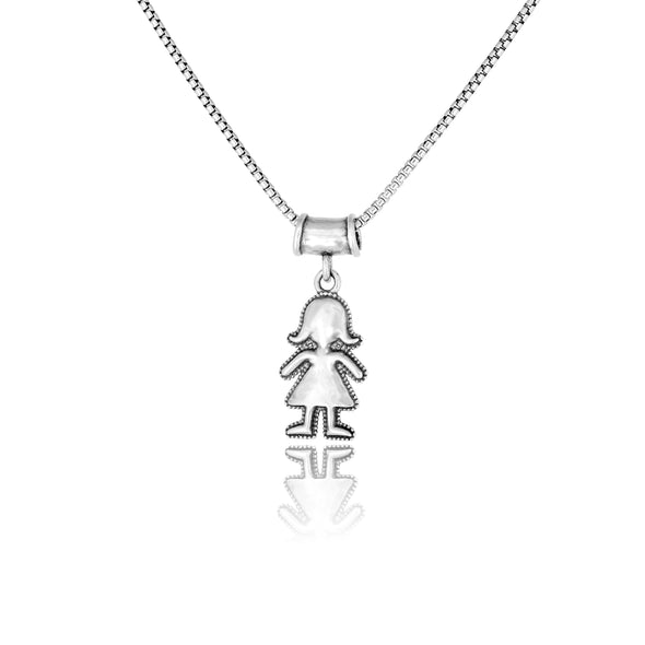 Mother's Necklace with Boy and Girl Charms Sterling Silver - dannynewfeld