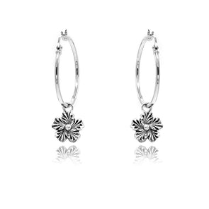 "Dangling Daisy Charm Large Hoop Earrings 1"" Sterling Silver"