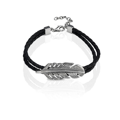 Men's Sterling Silver Leaf Braided Leather Bracelet - Danny Newfeld Collection