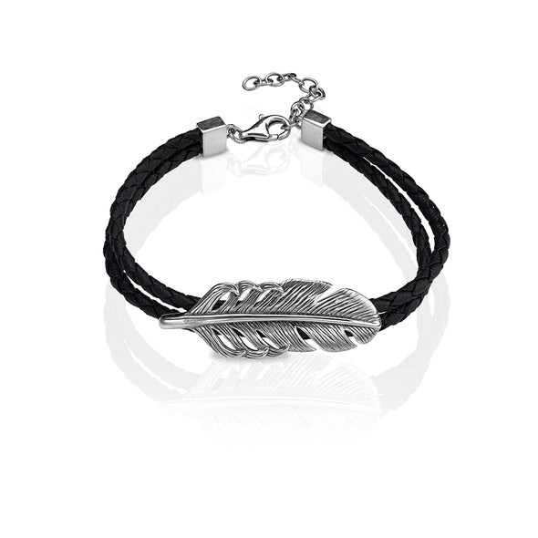 Men's Sterling Silver Leaf Braided Leather Bracelet - dannynewfeld