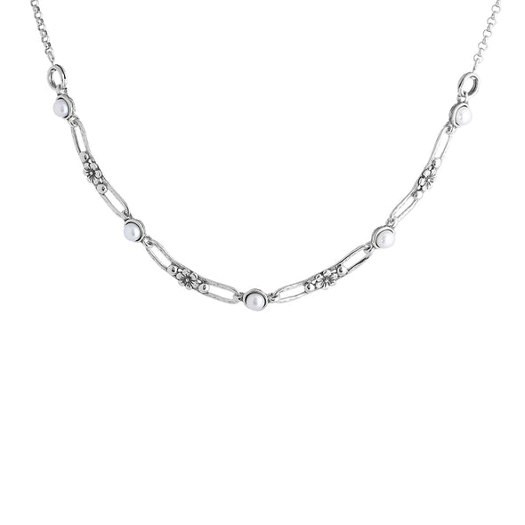 Luxurious Sterling Silver Pearl Link Necklace with a Floral Design - dannynewfeld