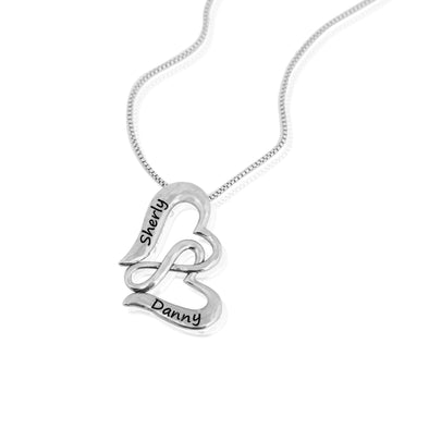 Personalized Couples Heart & Infinity Pendant in Sterling Silver - dannynewfeld