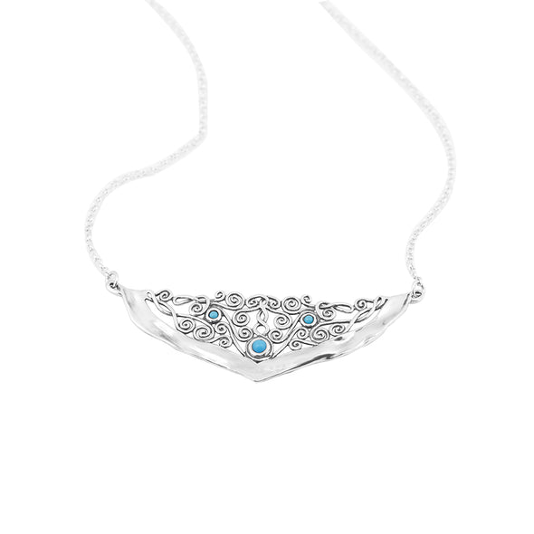 Lace Design Necklace with Gemstones in Sterling Silver - dannynewfeld
