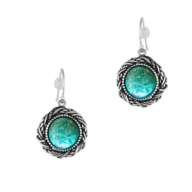 Chrysocolla Earrings Within a Twisted Rope Frame Design in Sterling Silver - dannynewfeld