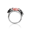 Rhodonite Ring with Dual Flower Design in Sterling Silver - dannynewfeld