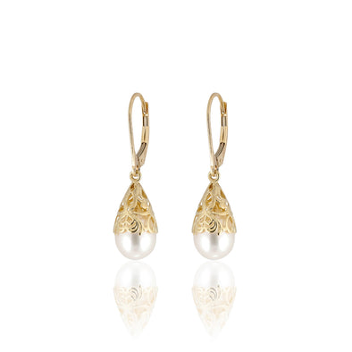 Freshwater Pearl Earrings 14K Gold - dannynewfeld
