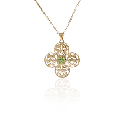 Diamond and Filigree Pendant Necklace 14K Gold - dannynewfeld