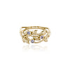 Bezel Set Gemstone Leaf Ring 14K Gold - dannynewfeld