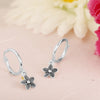 Dangling Dahlia Charm Hoop Earrings Sterling Silver - Danny Newfeld Collection