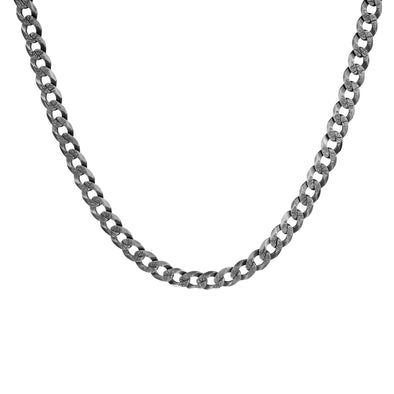 "Men's 22"" Sterling Silver Gourmette Gunmetal Chain Necklace - Danny Newfeld Collection"