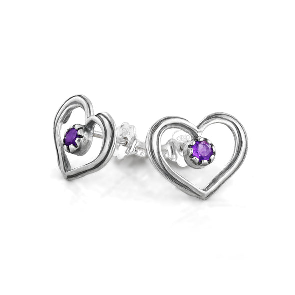 Heart Shaped Gemstone Stud Earrings Sterling Silver - dannynewfeld