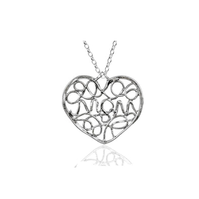 """MOM"" Heart Pendant Necklace Sterling Silver - dannynewfeld"