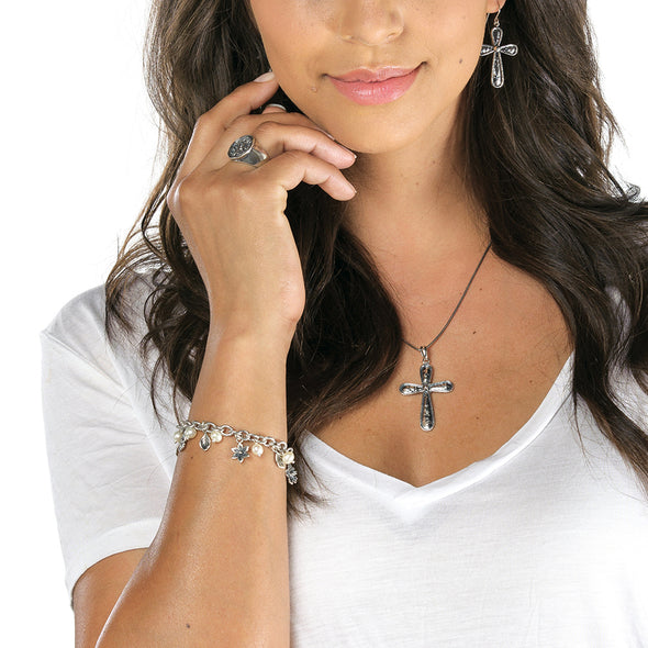 Hammered Cross Pendant on chain Sterling Silver - Danny Newfeld Collection