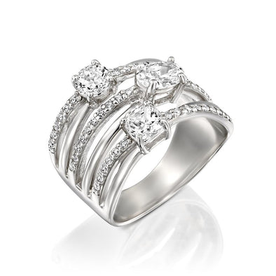 Cubic Zirconia Multi Row Ring Sterling Silver - dannynewfeld