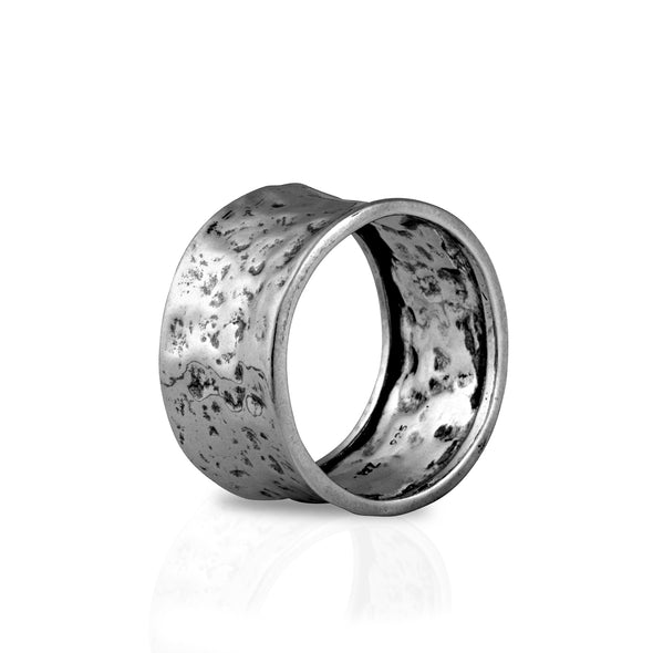 Sterling Silver Men's Hammered Wide Band Ring - dannynewfeld