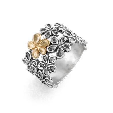 Graduated Two-Tone Flower Band Ring Sterling Silver - dannynewfeld