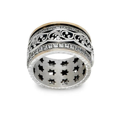 14K Gold and Sterling Silver Lace Spinner Ring - dannynewfeld