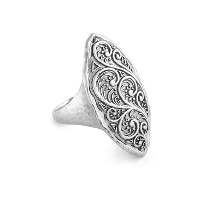 Filigree Marquise Shaped Swirl Design Ring Sterling Silver - dannynewfeld
