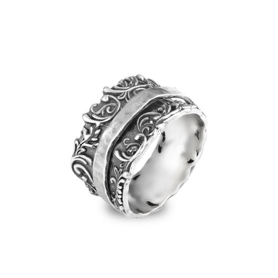 Spinner Ring Sterling Silver Lacey Design - Danny Newfeld Collection