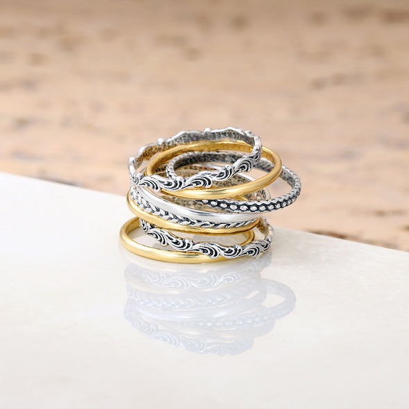 Sterling Silver Stack Rings - Set of 8 - dannynewfeld