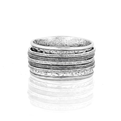 Men's Sterling Silver Spinner Ring with Black Rhodium & Silver Spinners - Danny Newfeld Collection
