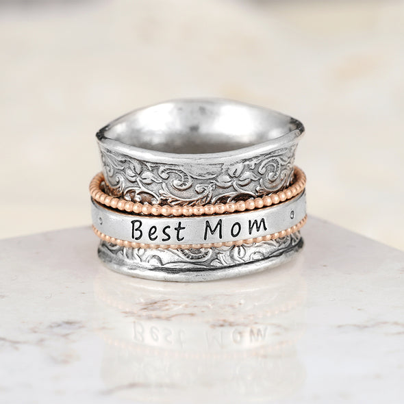 """BEST MOM"" Spinner Ring Sterling Silver - dannynewfeld"