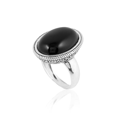 Black onyx Gemstone Ring With open filigree design in Sterling silver - dannynewfeld