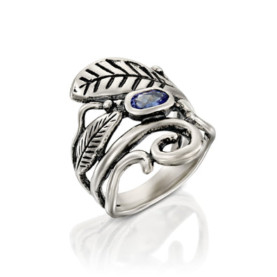 Tanzanite Gemstone and Leaf Ring sterling Silver - dannynewfeld