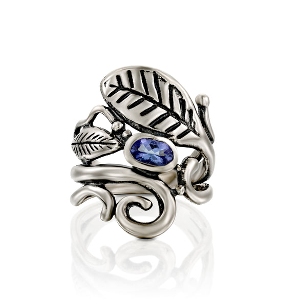 Tanzanite Gemstone and Leaf Ring sterling Silver - Danny Newfeld Collection