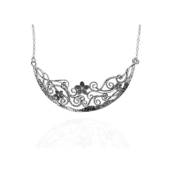 Floral Statement Necklace Sterling Silver - dannynewfeld