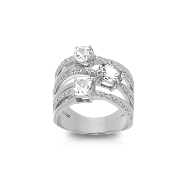 Cubic Zirconia Multi Row Ring Sterling Silver - Danny Newfeld Collection