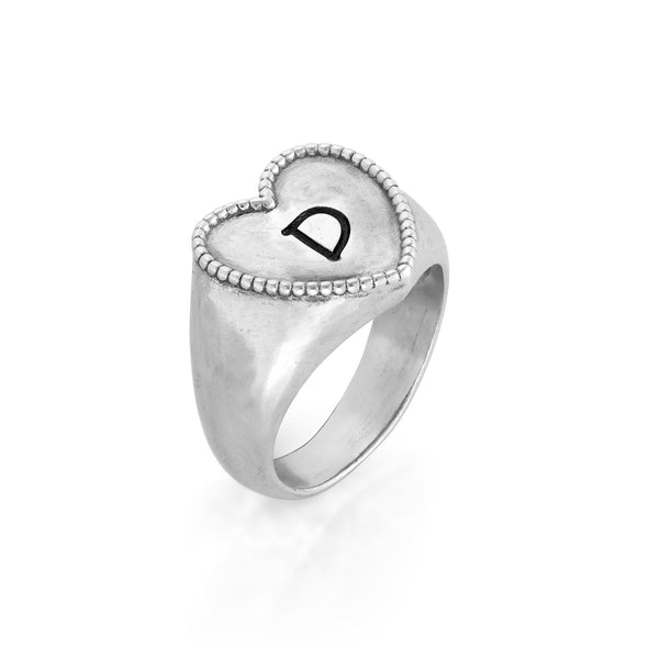 Engravable Signet Heart Ring Sterling Silver - dannynewfeld