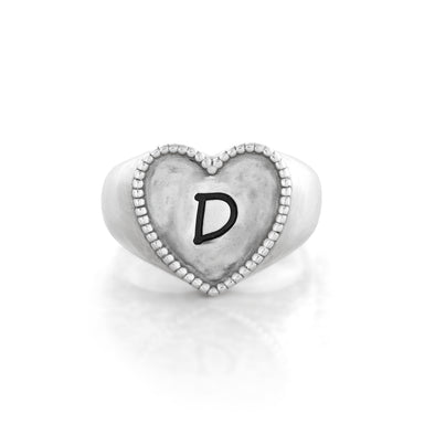 Engravable Signet Heart Ring Sterling Silver - Danny Newfeld Collection