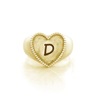 Engravable Signet Heart Ring 14K Gold Over Sterling Silver - Danny Newfeld Collection