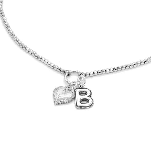 Sterling Silver Beaded Necklace with Heart and Alphabet Charms