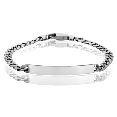 Men's Sterling Silver Engravable Gun Metal Bracelet - Danny Newfeld Collection