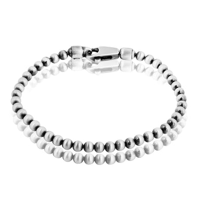 Men's Sterling Silver Beaded Gun Metal Bracelet - dannynewfeld