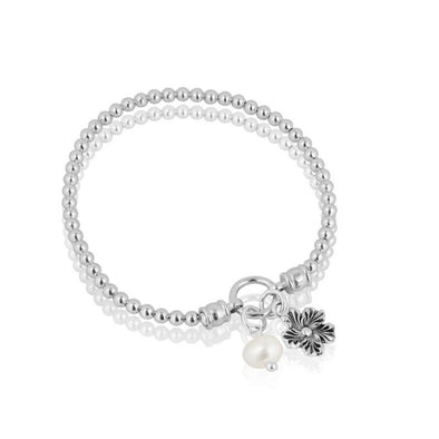 Pearl and Daisy Charm Stretch Bracelet Sterling Silver - dannynewfeld