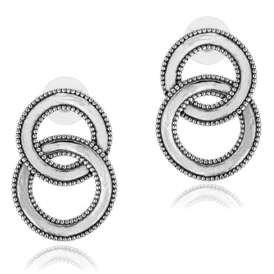 Double Hoop Stud Earrings Sterling Silver - dannynewfeld