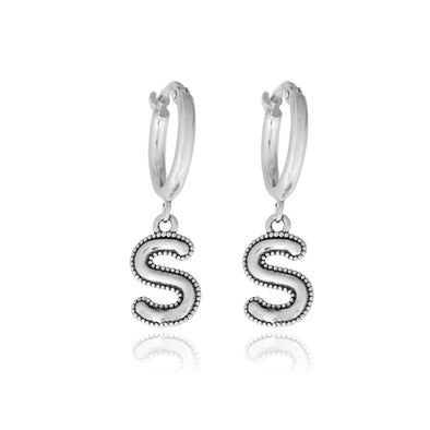 Alphabet Charm Hoop Earrings Sterling Silver