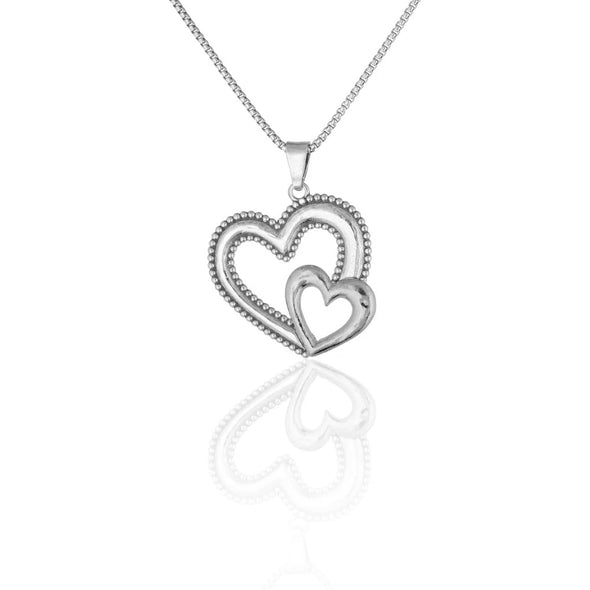 Nested Heart Pendant Necklace Sterling Silver - dannynewfeld