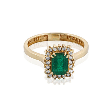 Emerald and Diamond Gemstone Ring 14K Gold - dannynewfeld